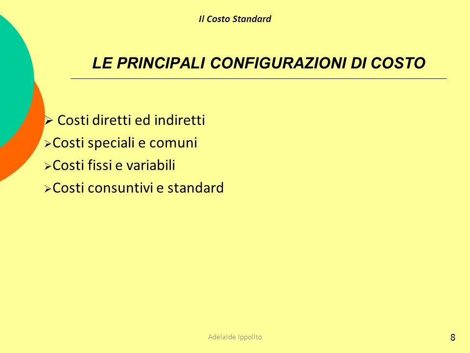 8 LE PRINCIPALI CONFIGURAZIONI DI COSTO Costi diretti ed indiretti Costi speciali e comuni Costi fissi e variabili Costi consuntivi e standard Adelaid