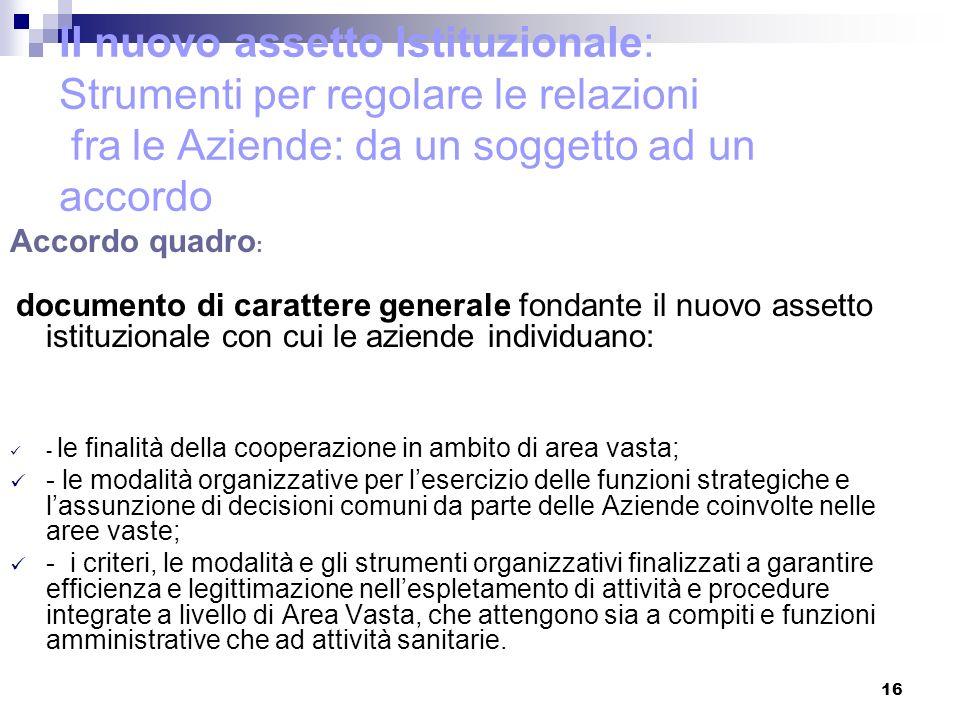 16 Il nuovo assetto Istituzionale: Strumenti per regolare le relazioni fra le Aziende: da un soggetto ad un accordo Accordo quadro : documento di cara