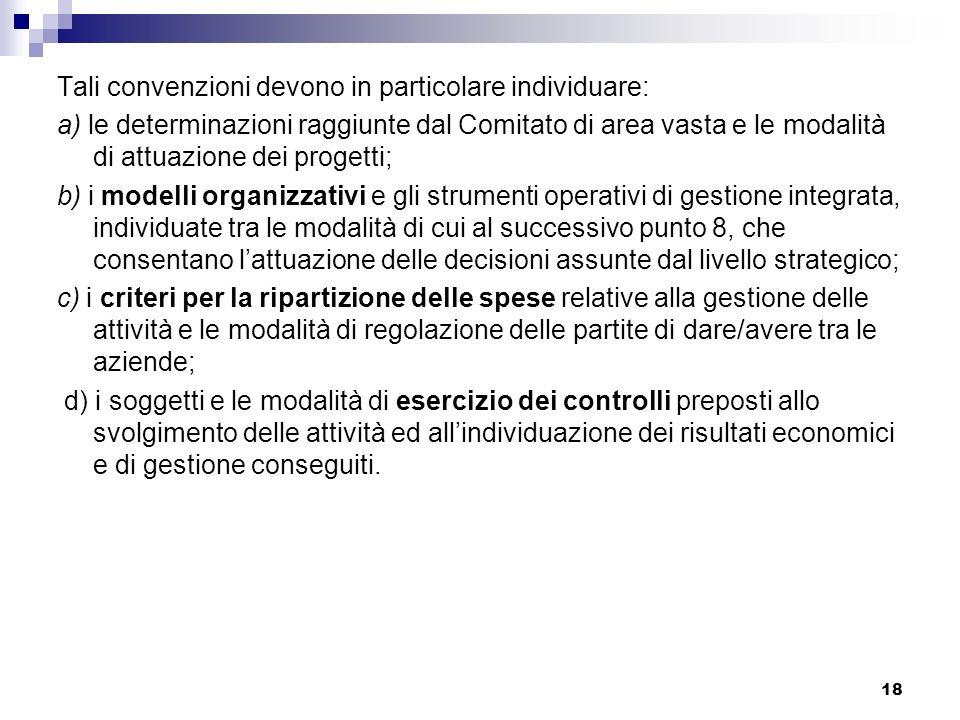 18 Tali convenzioni devono in particolare individuare: a) le determinazioni raggiunte dal Comitato di area vasta e le modalità di attuazione dei proge