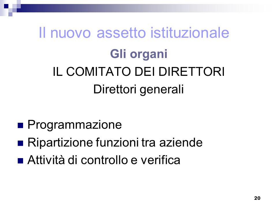 20 Gli organi IL COMITATO DEI DIRETTORI Direttori generali Programmazione Ripartizione funzioni tra aziende Attività di controllo e verifica Il nuovo