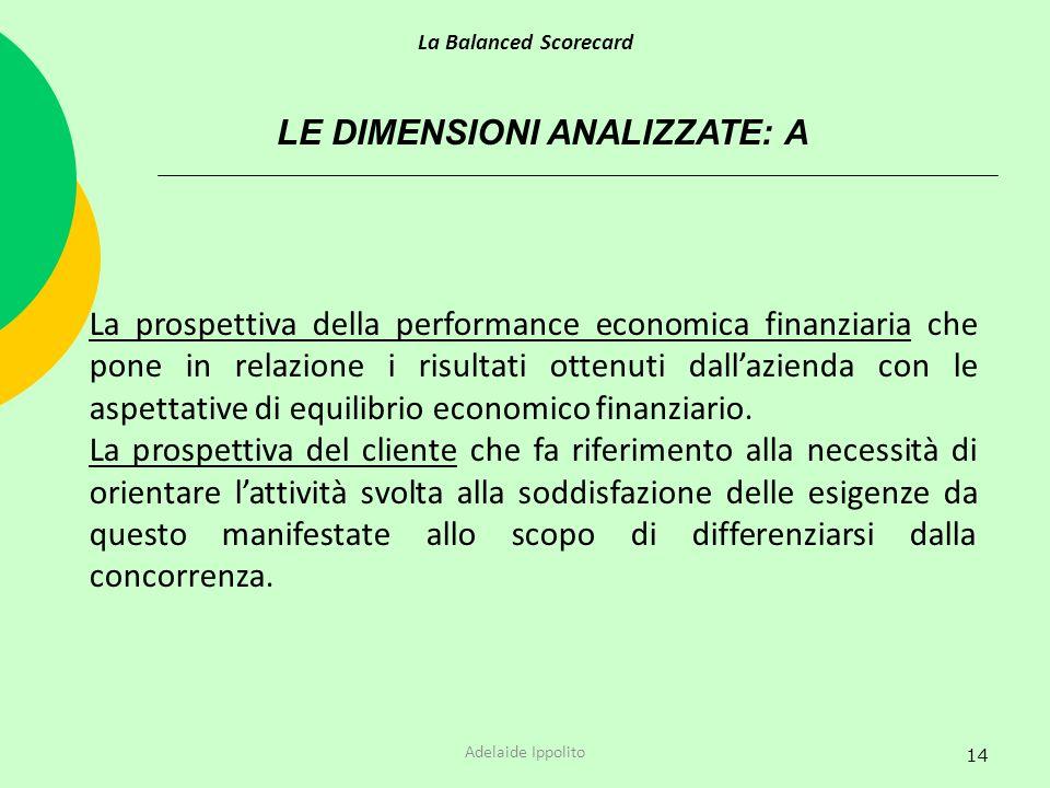 14 LE DIMENSIONI ANALIZZATE: A La prospettiva della performance economica finanziaria che pone in relazione i risultati ottenuti dallazienda con le as
