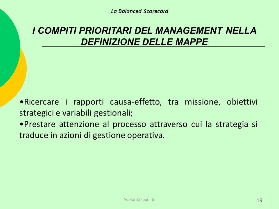 19 I COMPITI PRIORITARI DEL MANAGEMENT NELLA DEFINIZIONE DELLE MAPPE Ricercare i rapporti causa-effetto, tra missione, obiettivi strategici e variabil