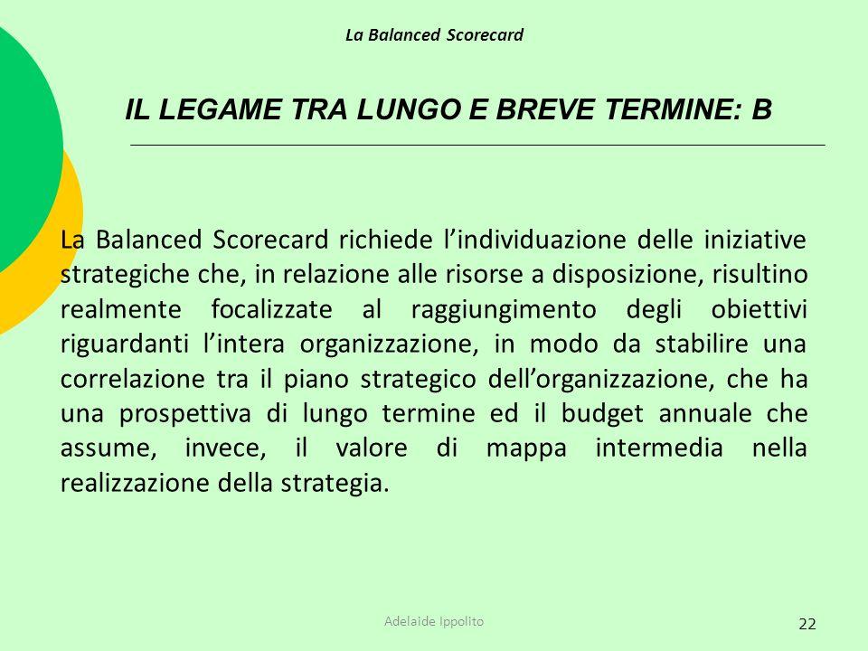22 IL LEGAME TRA LUNGO E BREVE TERMINE: B La Balanced Scorecard richiede lindividuazione delle iniziative strategiche che, in relazione alle risorse a