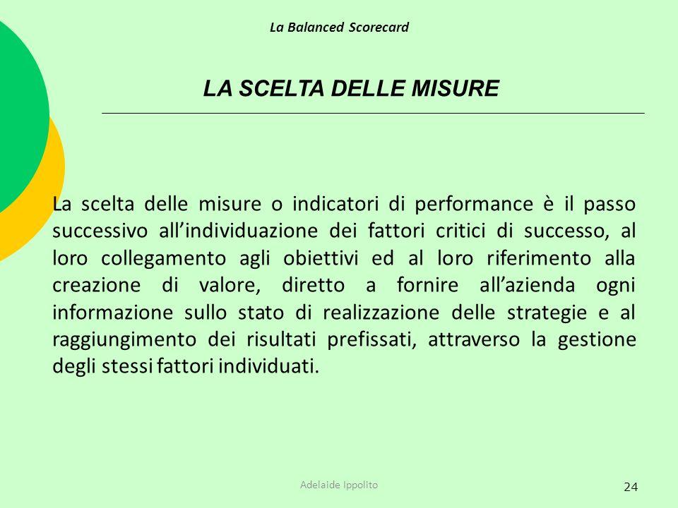 24 LA SCELTA DELLE MISURE La scelta delle misure o indicatori di performance è il passo successivo allindividuazione dei fattori critici di successo,