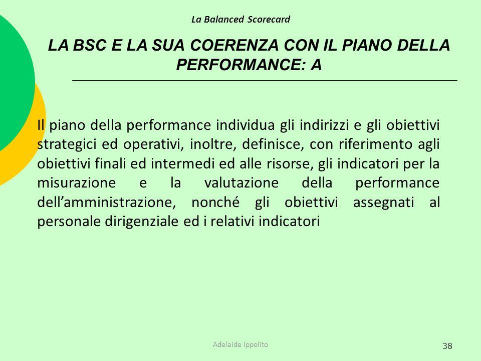 38 LA BSC E LA SUA COERENZA CON IL PIANO DELLA PERFORMANCE: A La Balanced Scorecard Adelaide Ippolito Il piano della performance individua gli indiriz