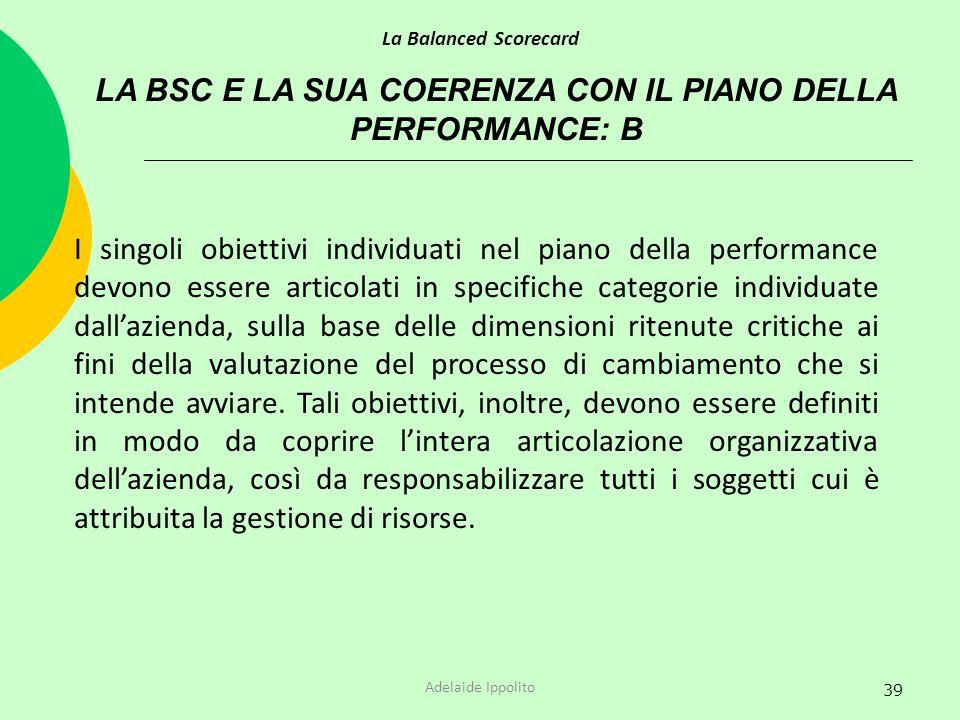 39 LA BSC E LA SUA COERENZA CON IL PIANO DELLA PERFORMANCE: B La Balanced Scorecard Adelaide Ippolito I singoli obiettivi individuati nel piano della