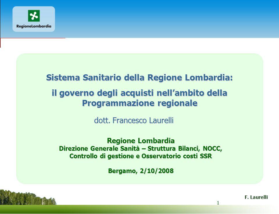 1 F. Laurelli 1 Sistema Sanitario della Regione Lombardia: il governo degli acquisti nellambito della Programmazione regionale Regione Lombardia Direz