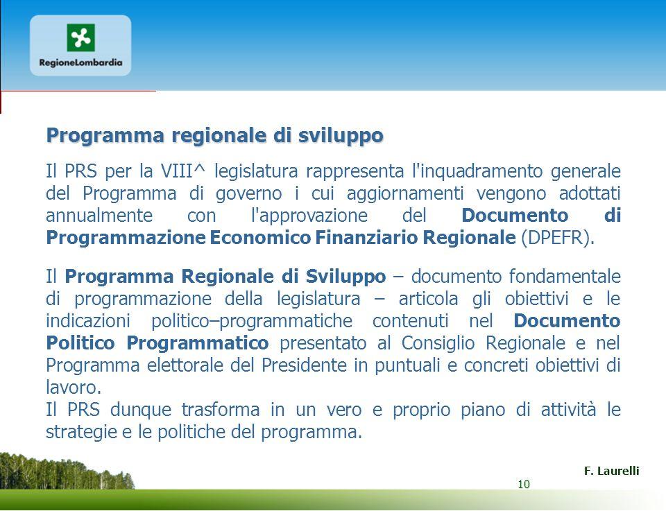 10 F. Laurelli 10 Programma regionale di sviluppo Il PRS per la VIII^ legislatura rappresenta l'inquadramento generale del Programma di governo i cui