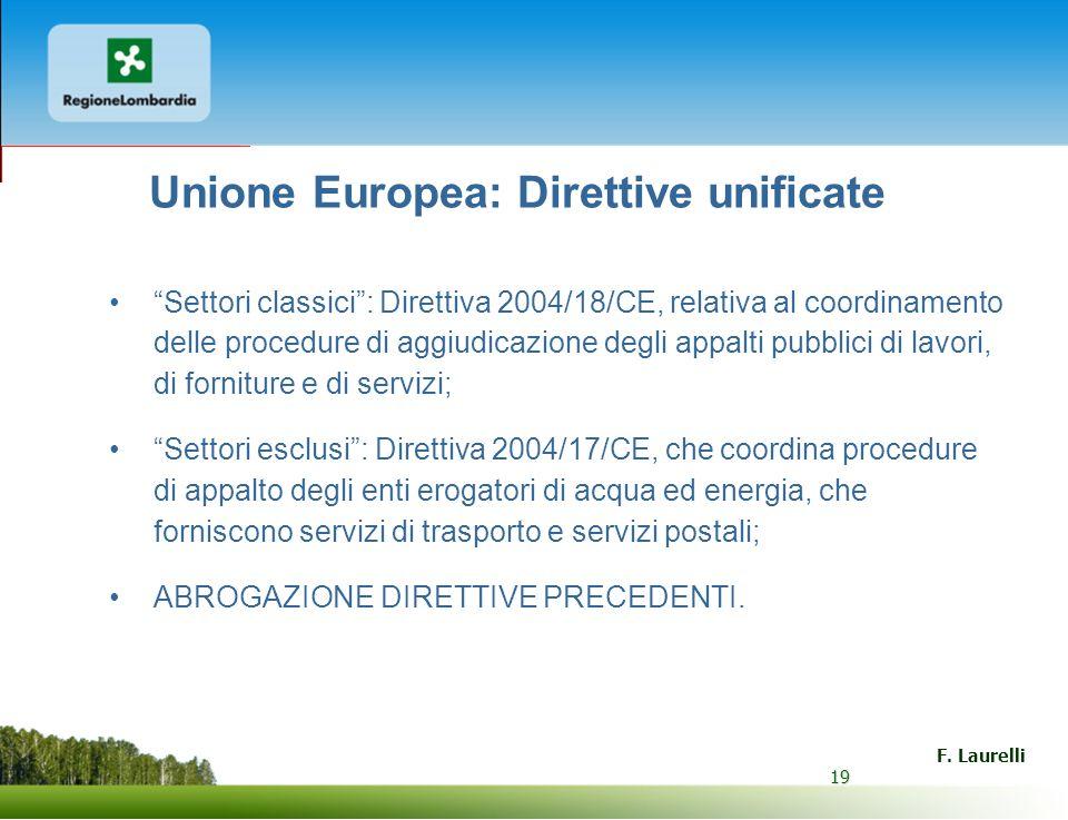 19 F. Laurelli 19 Unione Europea: Direttive unificate Settori classici: Direttiva 2004/18/CE, relativa al coordinamento delle procedure di aggiudicazi