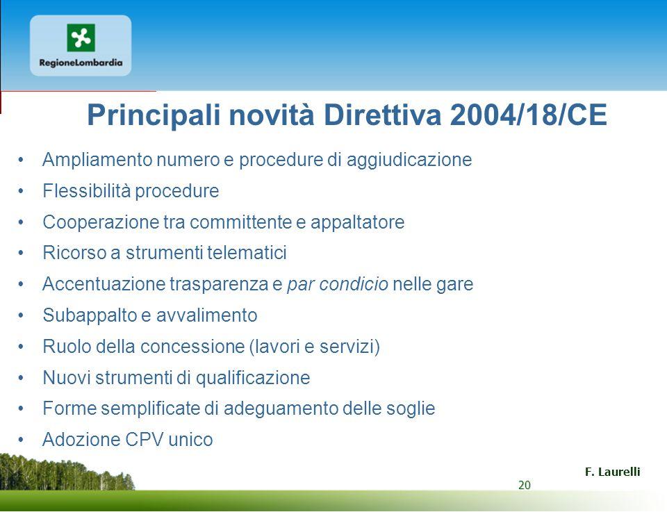 20 F. Laurelli 20 Principali novità Direttiva 2004/18/CE Ampliamento numero e procedure di aggiudicazione Flessibilità procedure Cooperazione tra comm