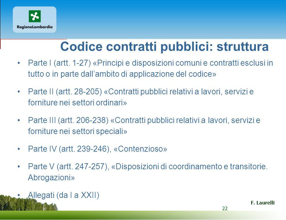 22 F. Laurelli 22 Codice contratti pubblici: struttura Parte I (artt. 1-27) «Principi e disposizioni comuni e contratti esclusi in tutto o in parte da