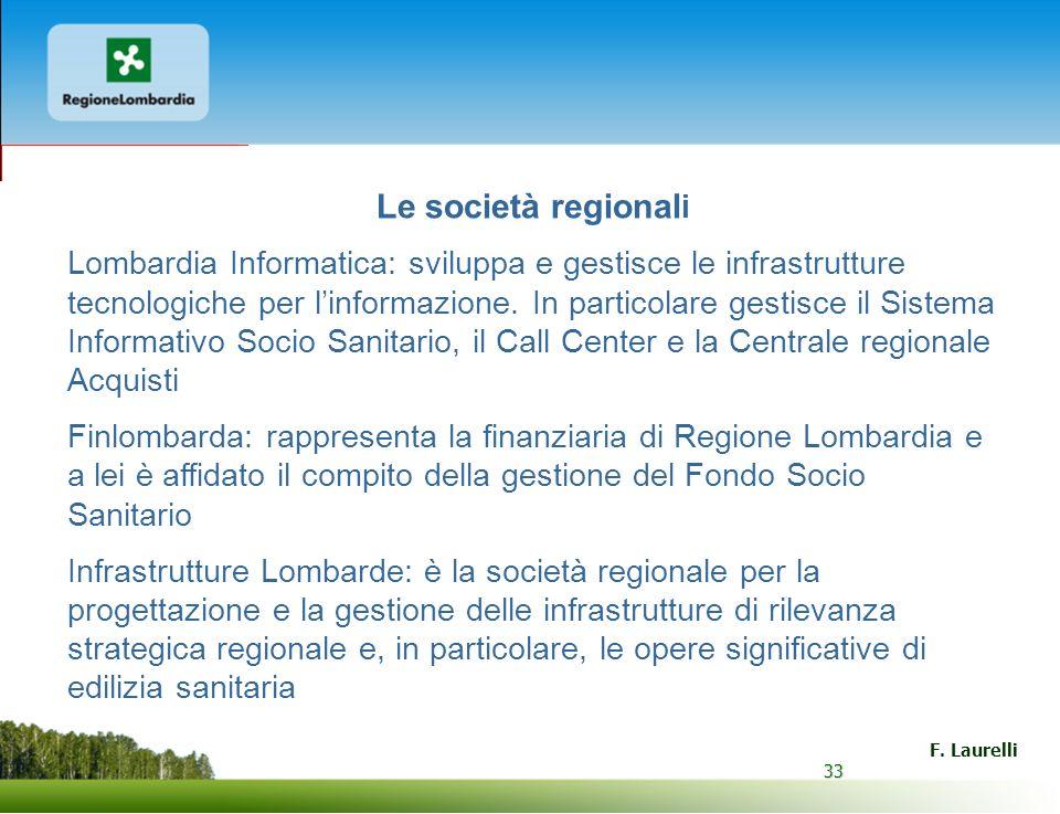 33 F. Laurelli 33 Le società regional i Lombardia Informatica: sviluppa e gestisce le infrastrutture tecnologiche per linformazione. In particolare ge