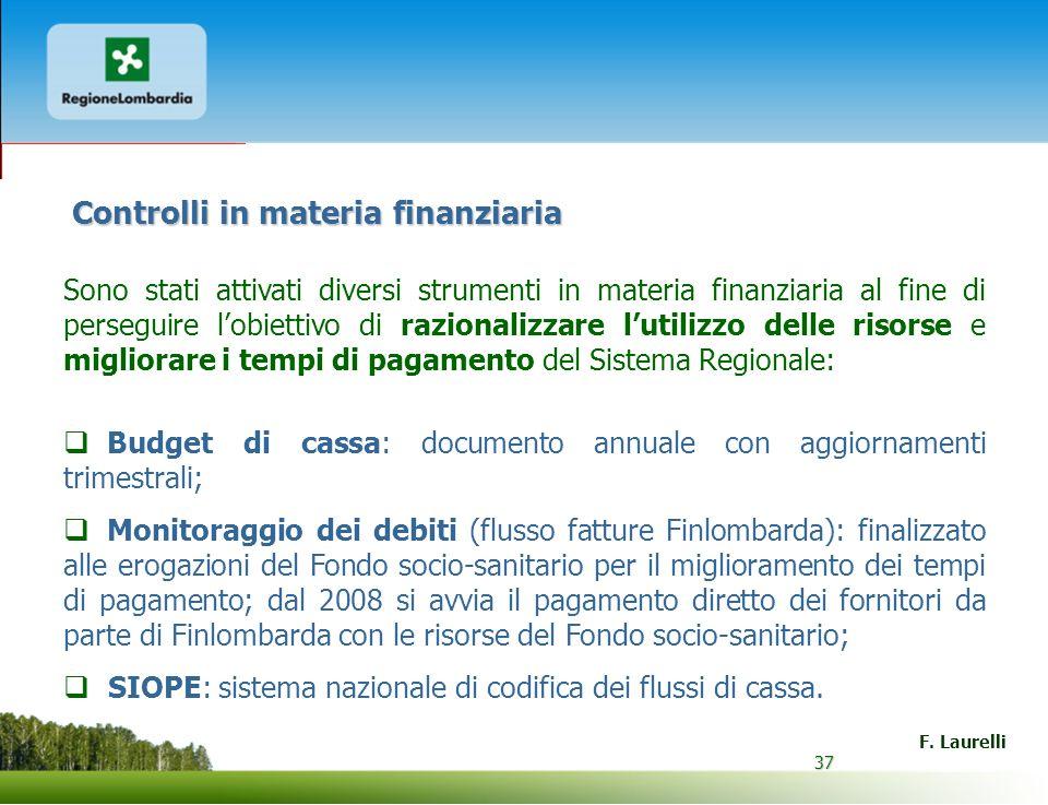 37 F. Laurelli 37 Controlli in materia finanziaria Sono stati attivati diversi strumenti in materia finanziaria al fine di perseguire lobiettivo di ra