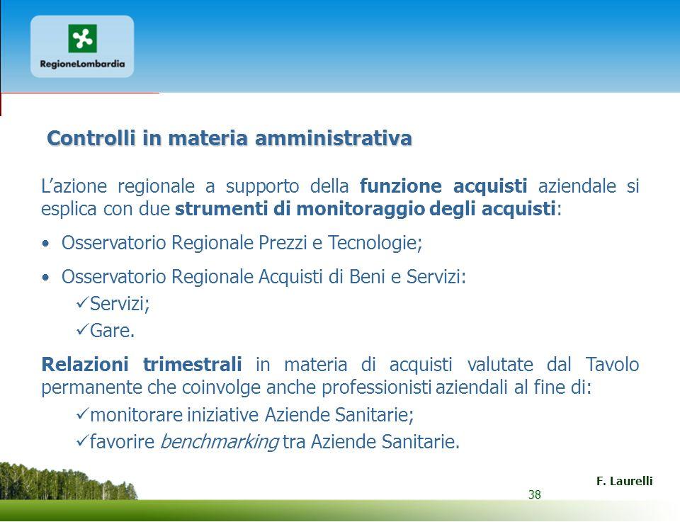 38 F. Laurelli 38 Controlli in materia amministrativa Lazione regionale a supporto della funzione acquisti aziendale si esplica con due strumenti di m