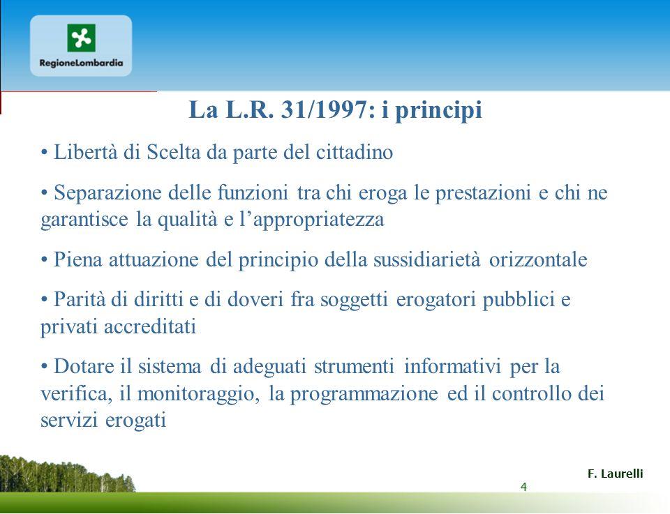 4 F. Laurelli 4 La L.R. 31/1997: i principi Libertà di Scelta da parte del cittadino Separazione delle funzioni tra chi eroga le prestazioni e chi ne
