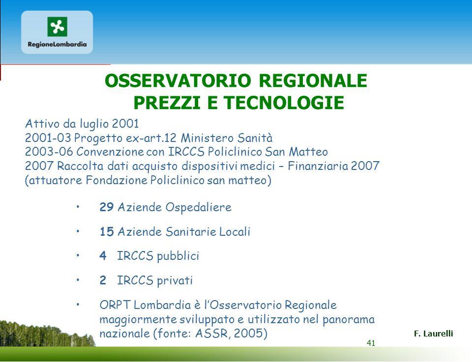 41 F. Laurelli 41 29 Aziende Ospedaliere 15 Aziende Sanitarie Locali 4 IRCCS pubblici 2 IRCCS privati ORPT Lombardia è lOsservatorio Regionale maggior