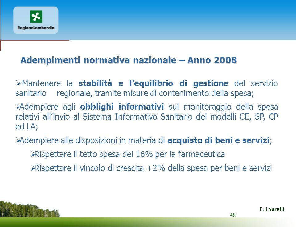 48 F. Laurelli 48 Adempimenti normativa nazionale – Anno 2008 Mantenere la stabilità e lequilibrio di gestione del servizio sanitario regionale, trami