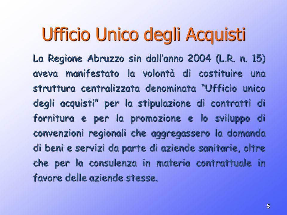 5 Ufficio Unico degli Acquisti La Regione Abruzzo sin dallanno 2004 (L.R. n. 15) aveva manifestato la volontà di costituire una struttura centralizzat