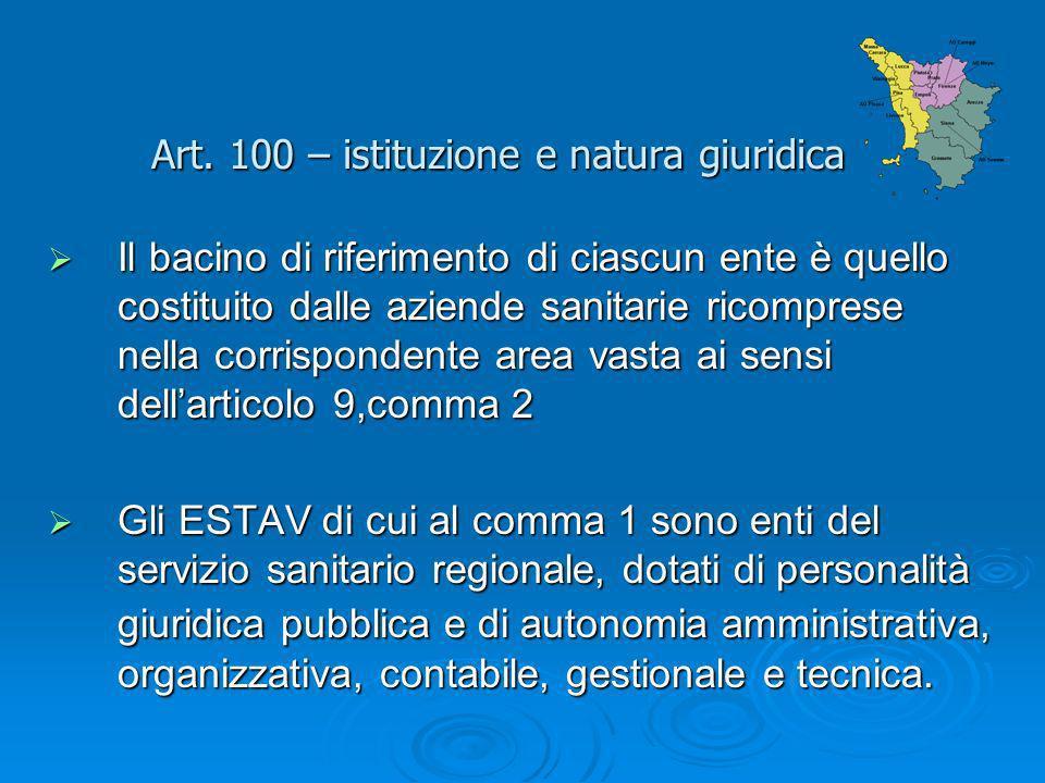 Art. 100 – istituzione e natura giuridica Il bacino di riferimento di ciascun ente è quello costituito dalle aziende sanitarie ricomprese nella corris