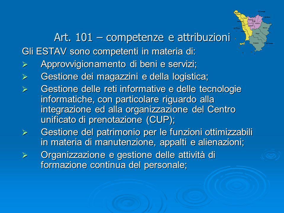 Art. 101 – competenze e attribuzioni Gli ESTAV sono competenti in materia di: Approvvigionamento di beni e servizi; Approvvigionamento di beni e servi