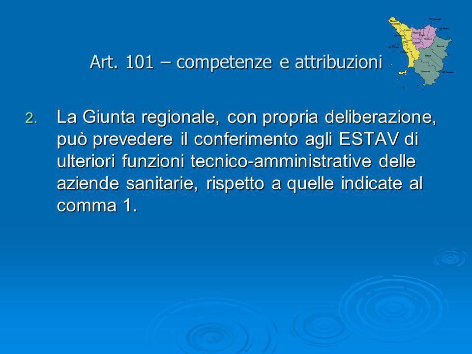 Art. 101 – competenze e attribuzioni 2. La Giunta regionale, con propria deliberazione, può prevedere il conferimento agli ESTAV di ulteriori funzioni