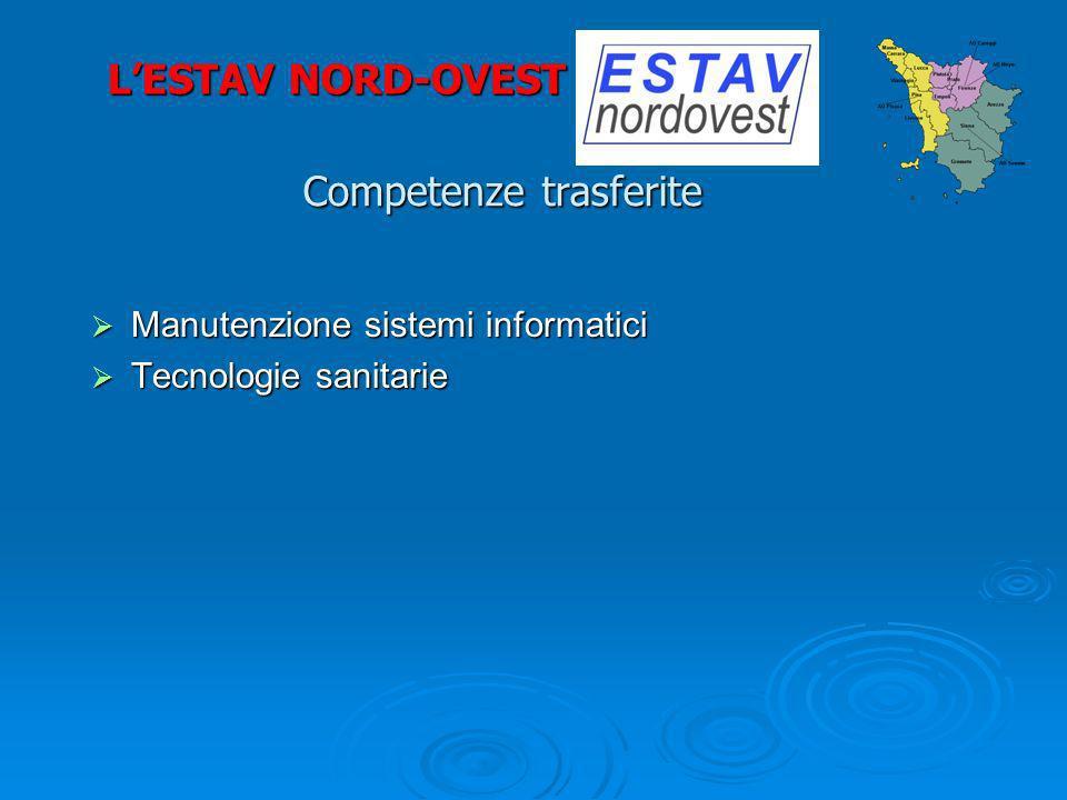 Competenze trasferite Manutenzione sistemi informatici Manutenzione sistemi informatici Tecnologie sanitarie Tecnologie sanitarie LESTAV NORD-OVEST