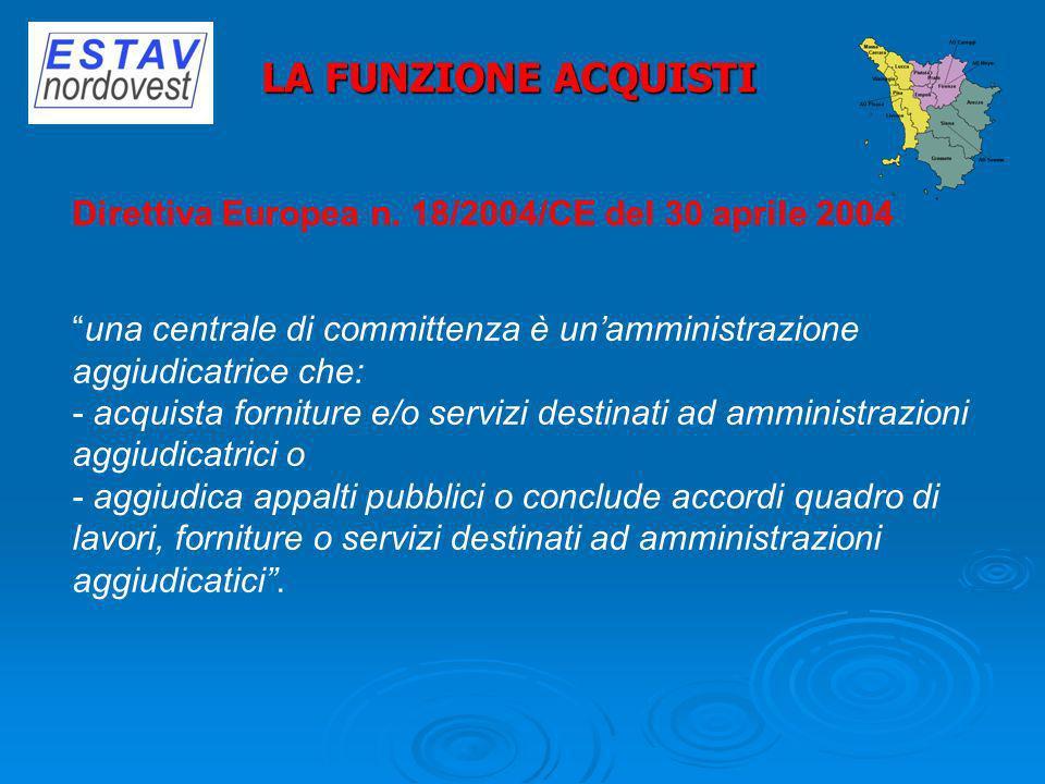 Direttiva Europea n. 18/2004/CE del 30 aprile 2004 una centrale di committenza è unamministrazione aggiudicatrice che: - acquista forniture e/o serviz