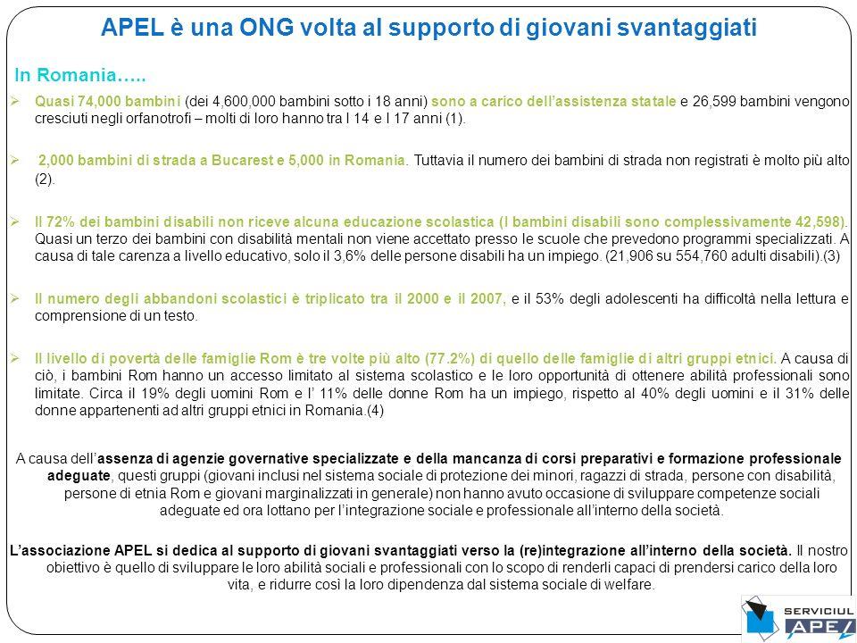 APEL è una ONG volta al supporto di giovani svantaggiati In Romania…..