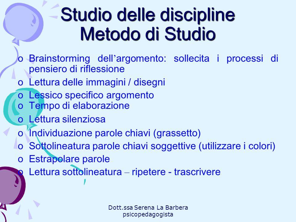 Dott.ssa Serena La Barbera psicopedagogista Studio delle discipline Metodo di Studio oBrainstorming dell argomento: sollecita i processi di pensiero d