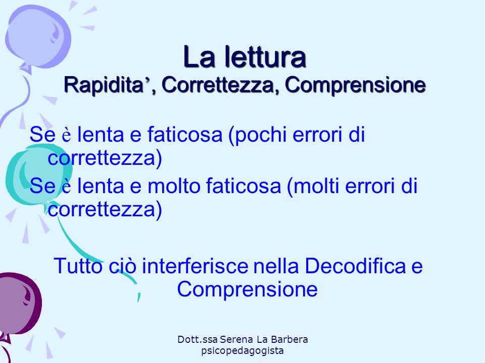 Dott.ssa Serena La Barbera psicopedagogista La lettura Rapidita, Correttezza, Comprensione Se è lenta e faticosa (pochi errori di correttezza) Se è le