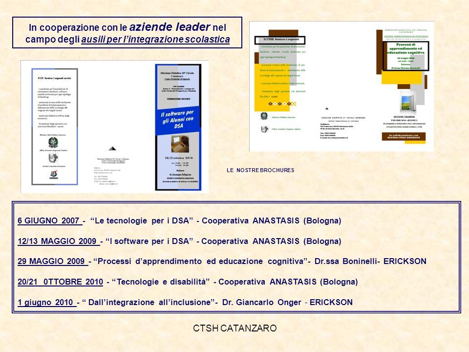 CTSH CATANZARO 6 GIUGNO 2007 - Le tecnologie per i DSA - Cooperativa ANASTASIS (Bologna) 12/13 MAGGIO 2009 - I software per i DSA - Cooperativa ANASTASIS (Bologna) 29 MAGGIO 2009 - Processi dapprendimento ed educazione cognitiva- Dr.ssa Boninelli- ERICKSON 20/21 0TTOBRE 2010 - Tecnologie e disabilità - Cooperativa ANASTASIS (Bologna) 1 giugno 2010 - Dallintegrazione allinclusione- Dr.