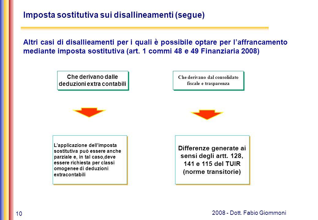 10 2008 - Dott. Fabio Giommoni Imposta sostitutiva sui disallineamenti (segue) Lapplicazione dellimposta sostitutiva può essere anche parziale e, in t
