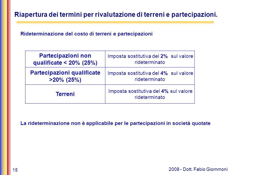 15 2008 - Dott. Fabio Giommoni Rideterminazione del costo di terreni e partecipazioni La rideterminazione non è applicabile per le partecipazioni in s