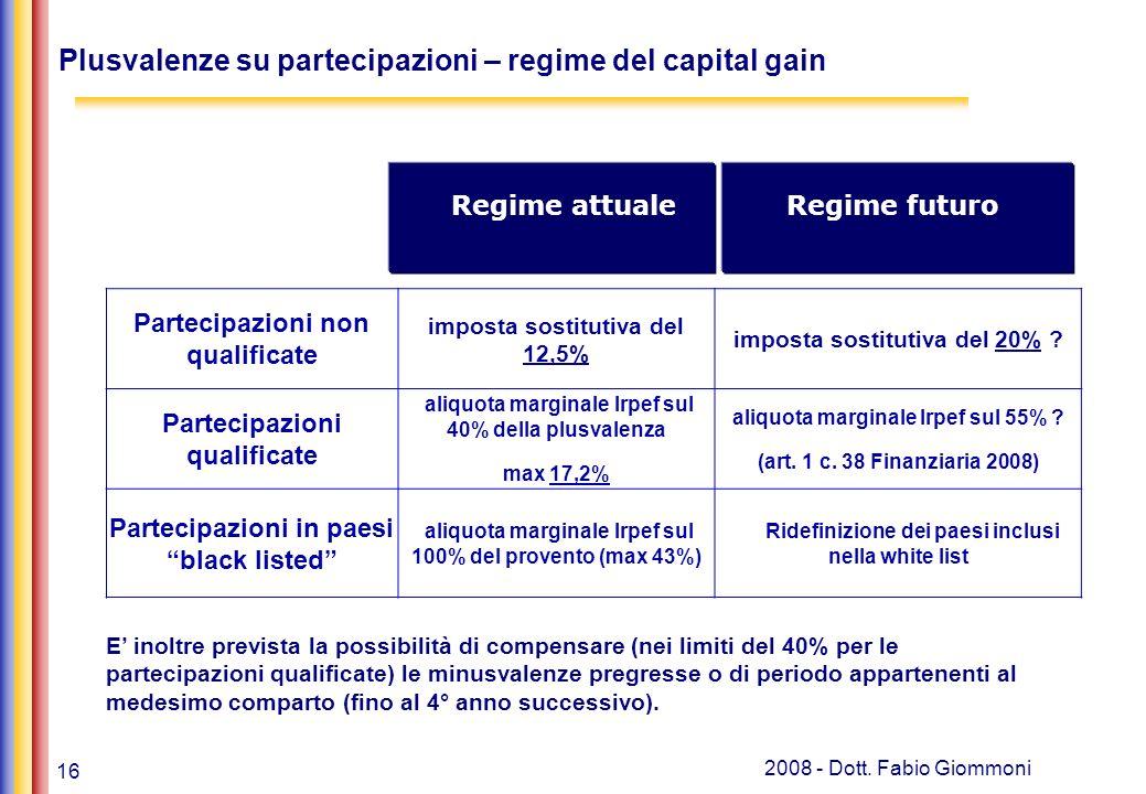 16 2008 - Dott. Fabio Giommoni Plusvalenze su partecipazioni – regime del capital gain Partecipazioni non qualificate imposta sostitutiva del 12,5% im