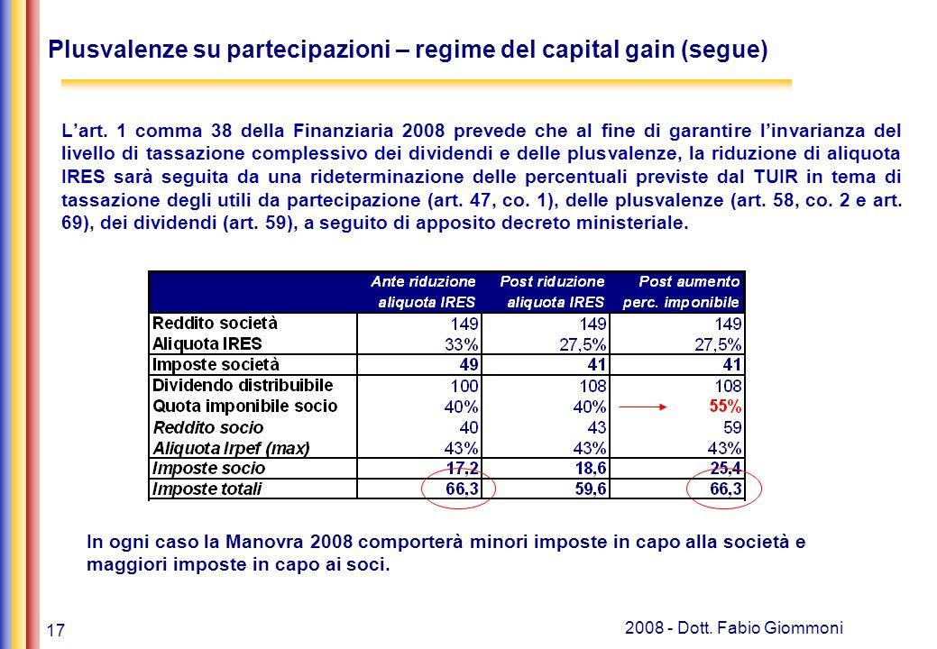 17 2008 - Dott. Fabio Giommoni Lart. 1 comma 38 della Finanziaria 2008 prevede che al fine di garantire linvarianza del livello di tassazione compless