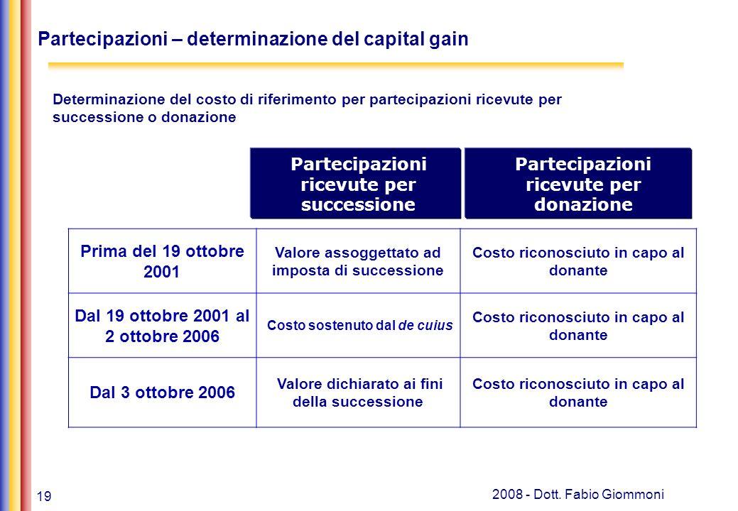 19 2008 - Dott. Fabio Giommoni Partecipazioni – determinazione del capital gain Prima del 19 ottobre 2001 Valore assoggettato ad imposta di succession
