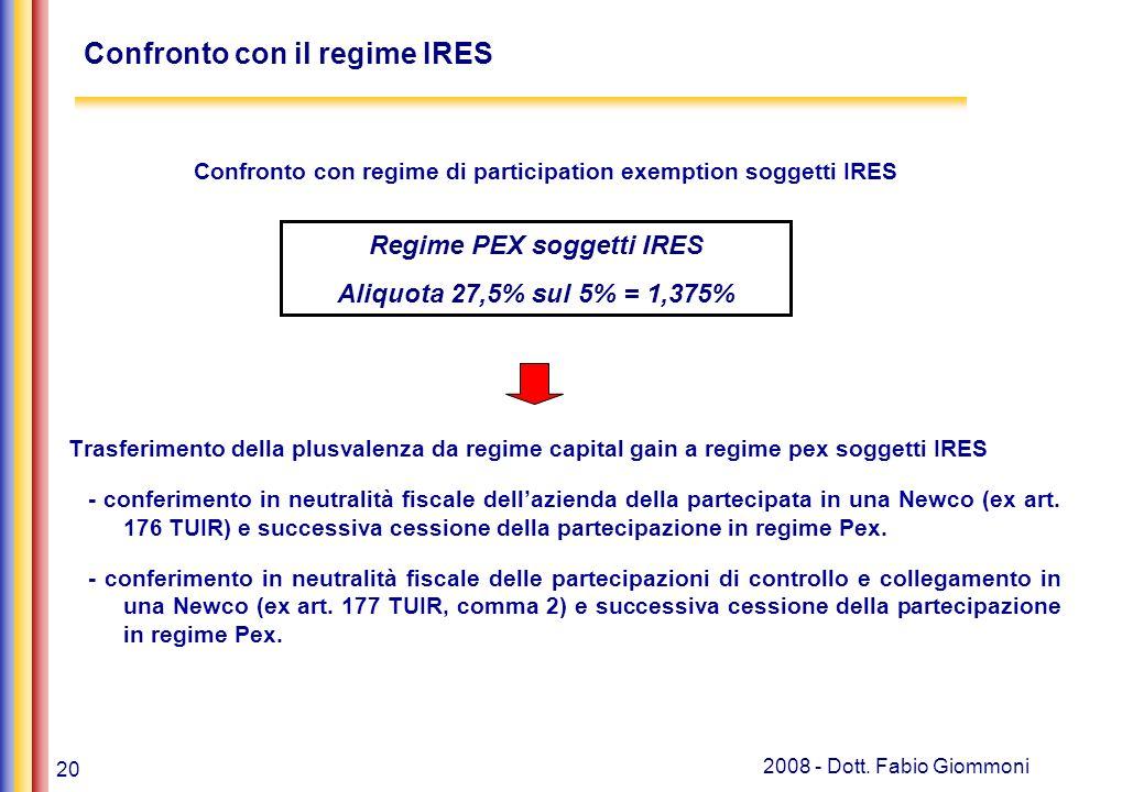 20 2008 - Dott. Fabio Giommoni Confronto con regime di participation exemption soggetti IRES Trasferimento della plusvalenza da regime capital gain a
