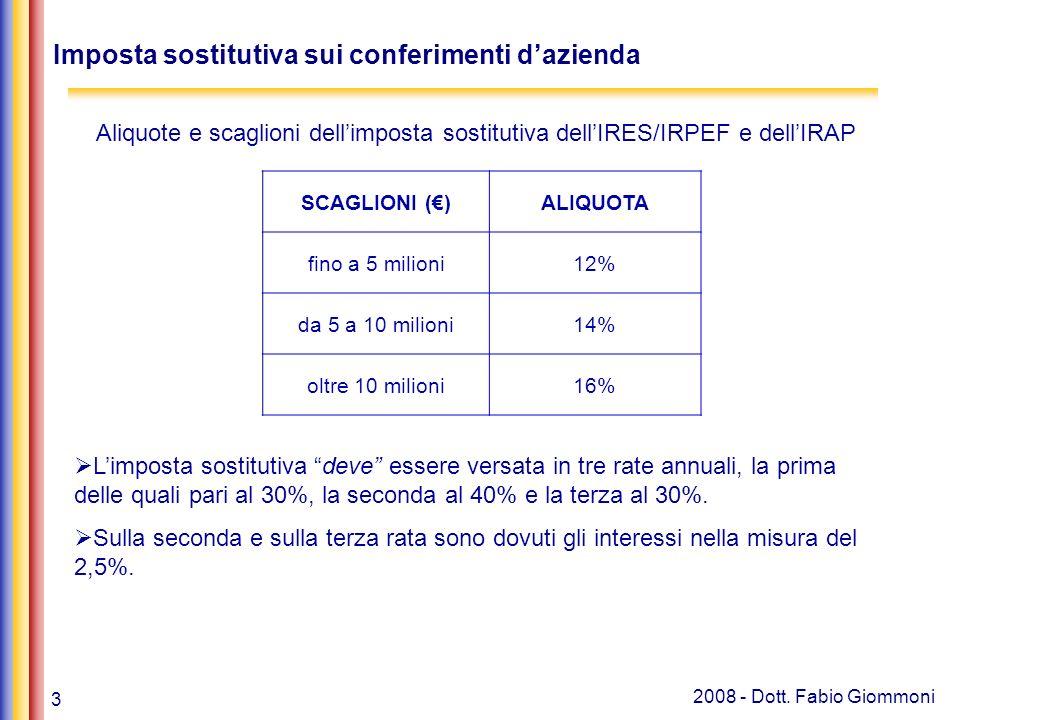 3 2008 - Dott. Fabio Giommoni Imposta sostitutiva sui conferimenti dazienda Banche, leasing e soc. finanziarie art. 106 e 107 Regime ordinario SCAGLIO