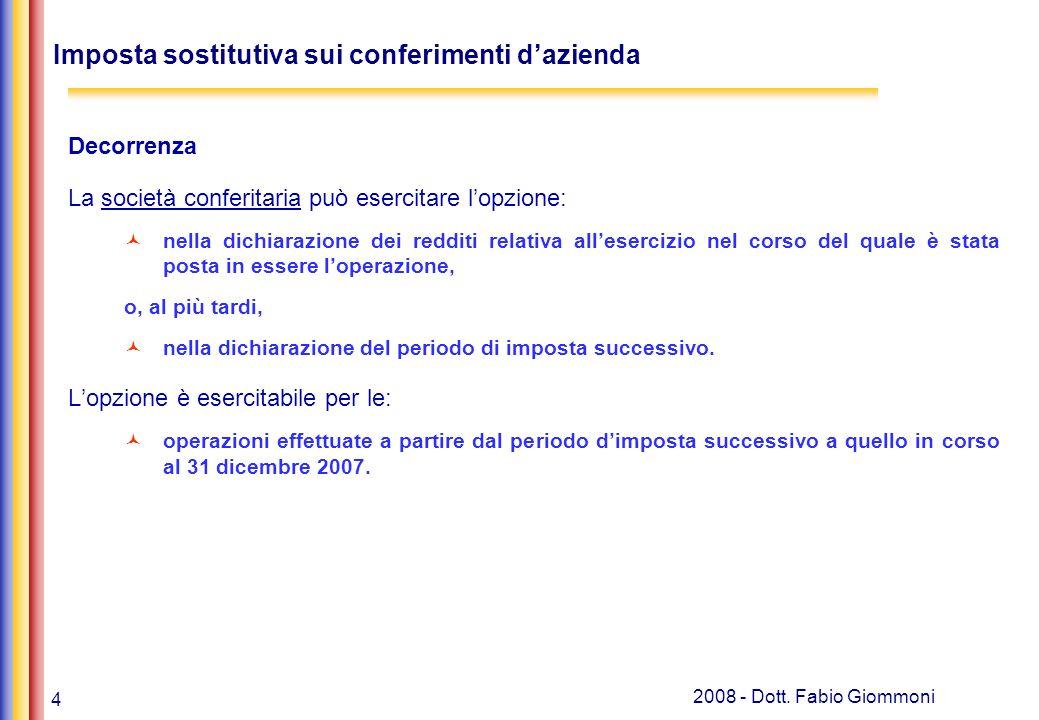 4 2008 - Dott. Fabio Giommoni Imposta sostitutiva sui conferimenti dazienda Decorrenza La società conferitaria può esercitare lopzione: nella dichiara