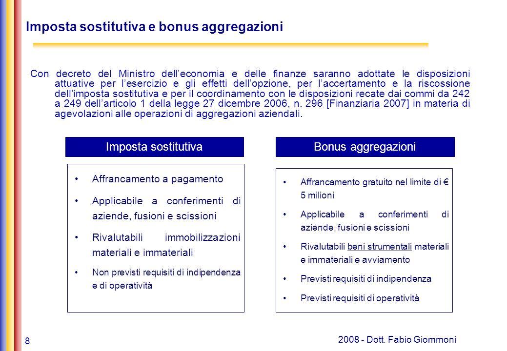8 2008 - Dott. Fabio Giommoni Con decreto del Ministro delleconomia e delle finanze saranno adottate le disposizioni attuative per lesercizio e gli ef
