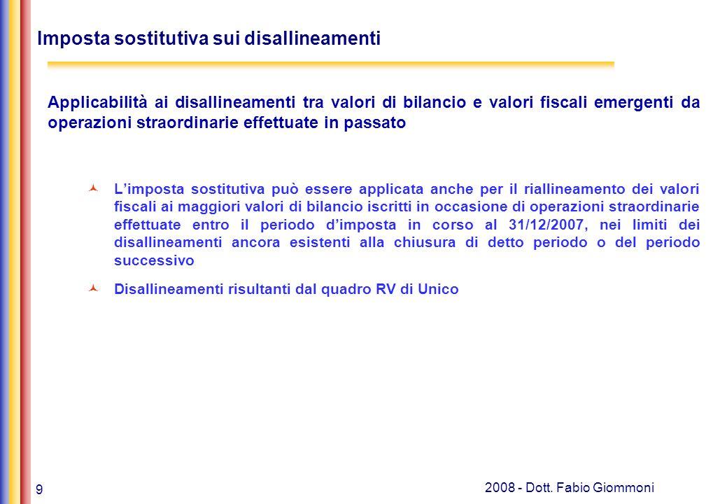 9 2008 - Dott. Fabio Giommoni Imposta sostitutiva sui disallineamenti Applicabilità ai disallineamenti tra valori di bilancio e valori fiscali emergen