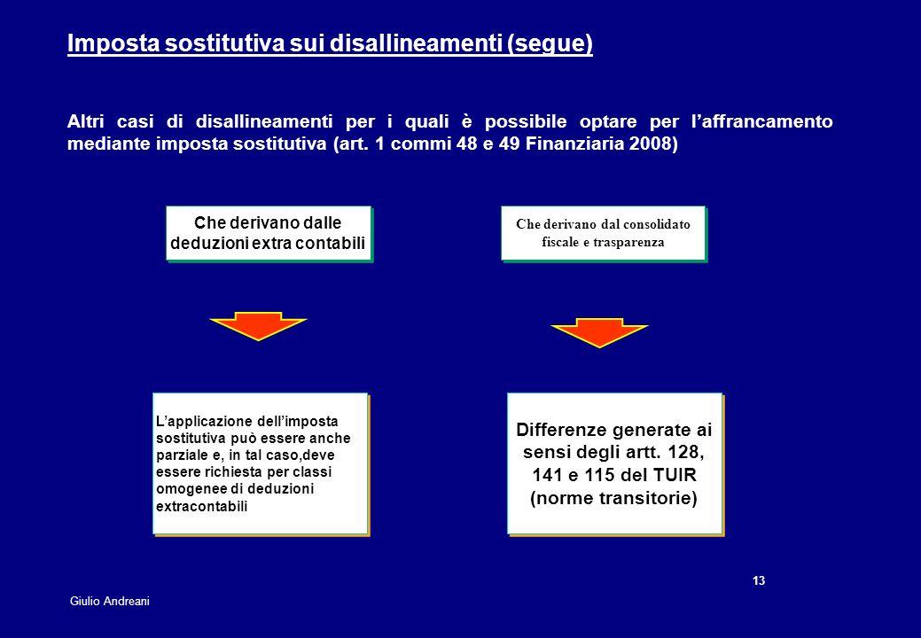 13 Giulio Andreani Imposta sostitutiva sui disallineamenti (segue) Lapplicazione dellimposta sostitutiva può essere anche parziale e, in tal caso,deve