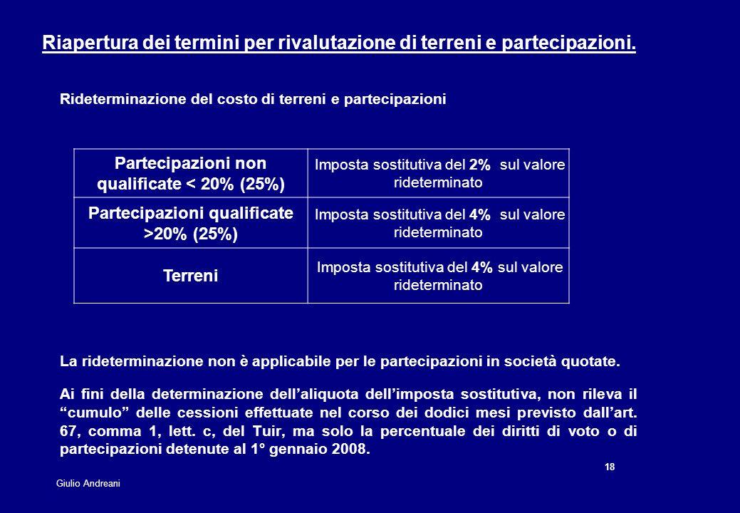 18 Giulio Andreani Rideterminazione del costo di terreni e partecipazioni La rideterminazione non è applicabile per le partecipazioni in società quota