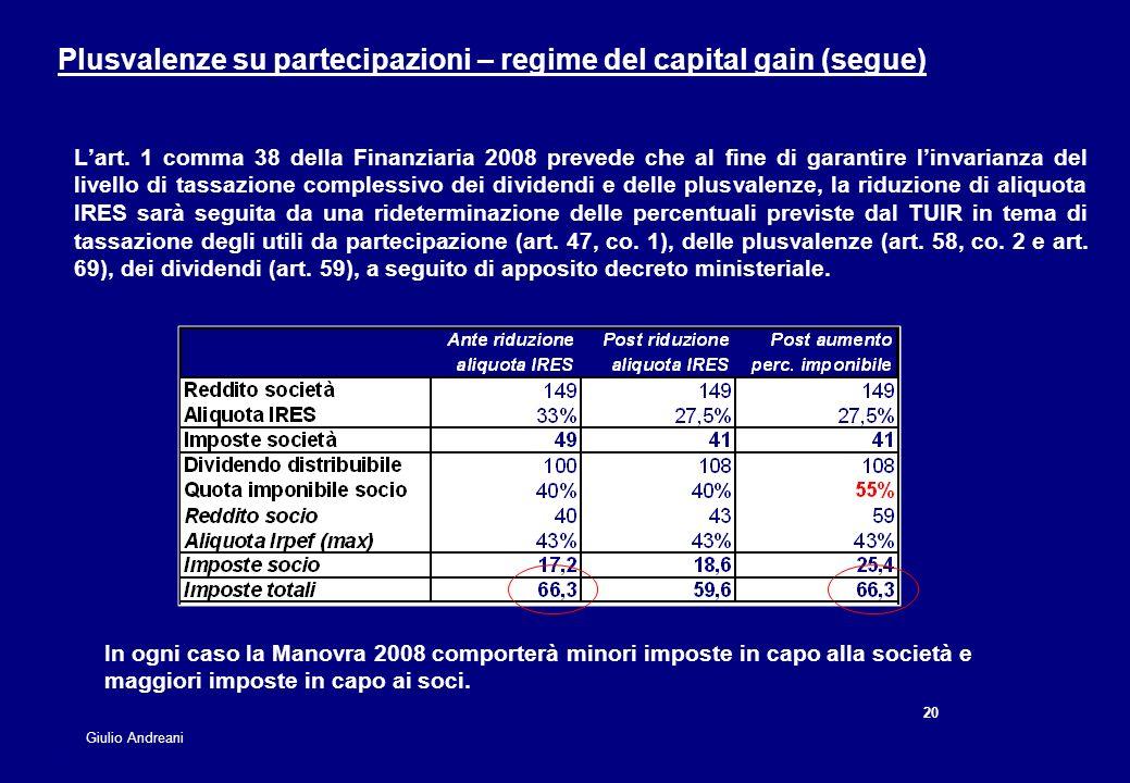 20 Giulio Andreani Lart. 1 comma 38 della Finanziaria 2008 prevede che al fine di garantire linvarianza del livello di tassazione complessivo dei divi