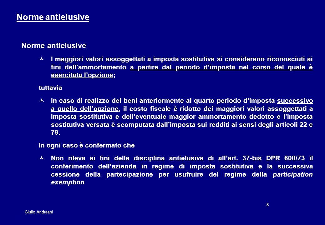8 8 Giulio Andreani Norme antielusive I maggiori valori assoggettati a imposta sostitutiva si considerano riconosciuti ai fini dellammortamento a part
