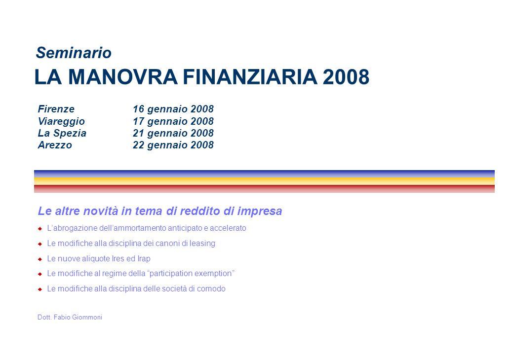 2 2008 - Dott.Fabio Giommoni Labrogazione dellammortamento anticipato e accelerato Art.