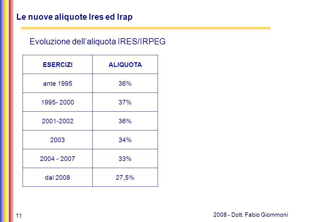 11 2008 - Dott. Fabio Giommoni Le nuove aliquote Ires ed Irap Banche, leasing e soc.