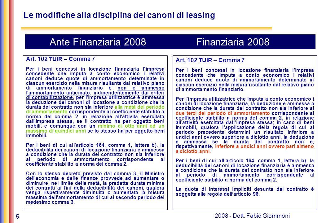 5 2008 - Dott. Fabio Giommoni Le modifiche alla disciplina dei canoni di leasing Art.