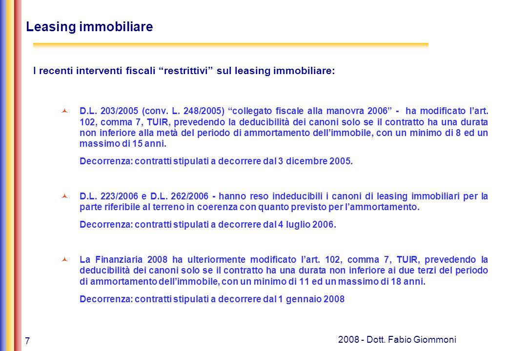 18 2008 - Dott.Fabio Giommoni Banche, leasing e soc.