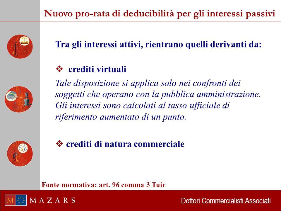 Dottori Commercialisti Associati Tra gli interessi attivi, rientrano quelli derivanti da: crediti virtuali Tale disposizione si applica solo nei confronti dei soggetti che operano con la pubblica amministrazione.
